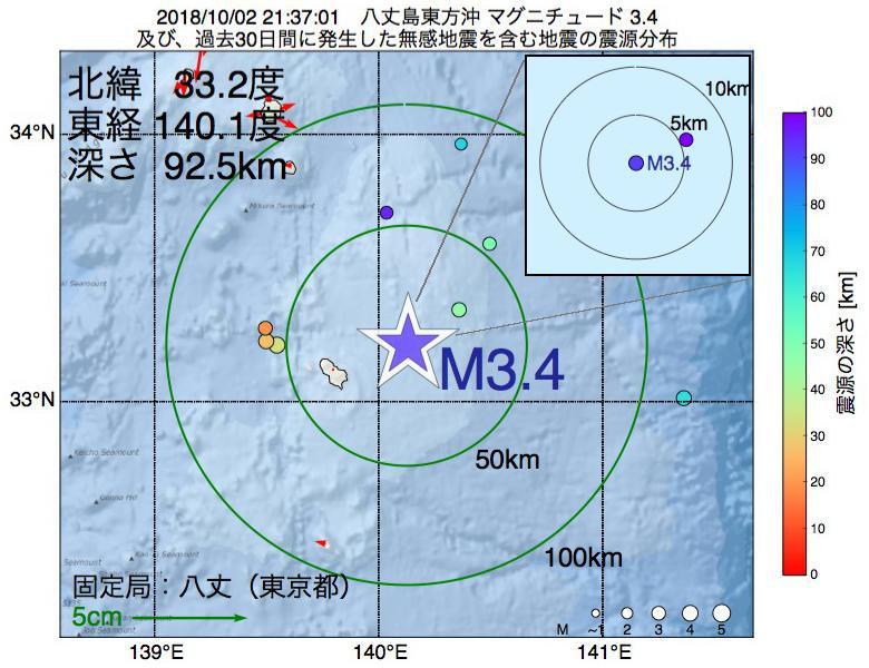 地震震源マップ:2018年10月02日 21時37分 八丈島東方沖でM3.4の地震