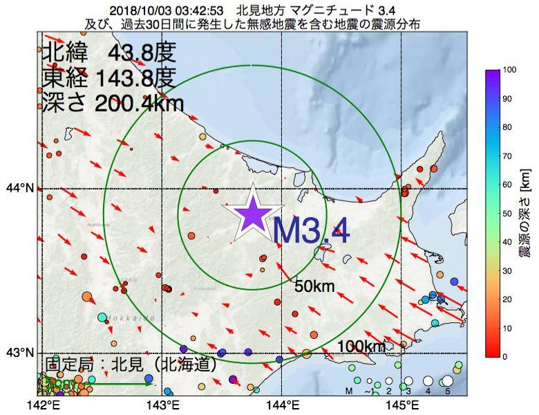 地震震源マップ:2018年10月03日 03時42分 北見地方でM3.4の地震