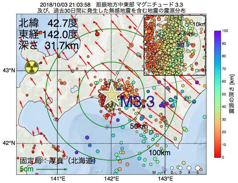 地震震源マップ:2018年10月03日 21時03分 胆振地方中東部でM3.3の地震