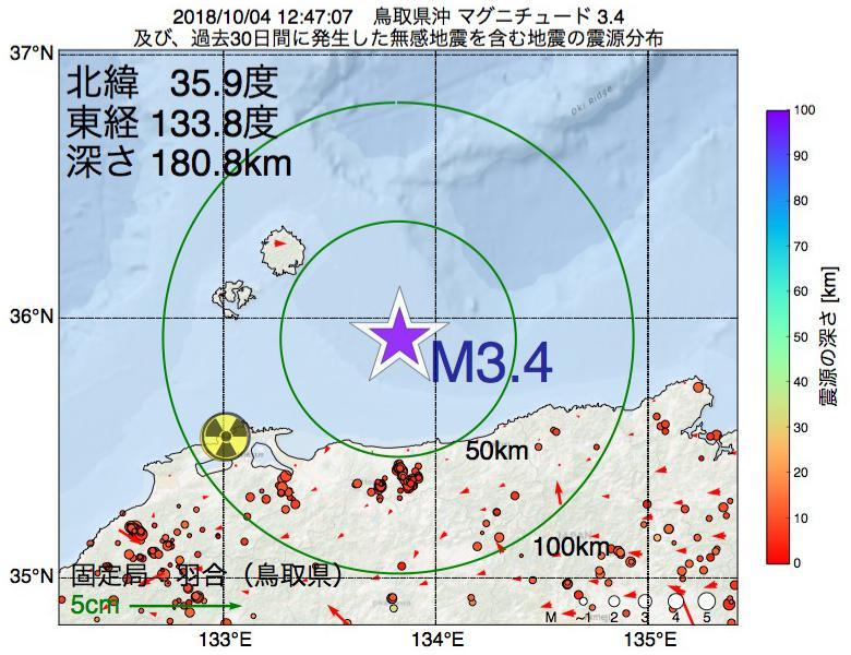 地震震源マップ:2018年10月04日 12時47分 鳥取県沖でM3.4の地震