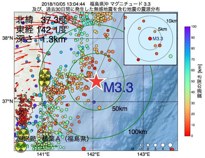 地震震源マップ:2018年10月05日 13時04分 福島県沖でM3.3の地震