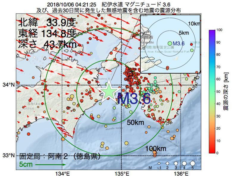 地震震源マップ:2018年10月06日 04時21分 紀伊水道でM3.6の地震