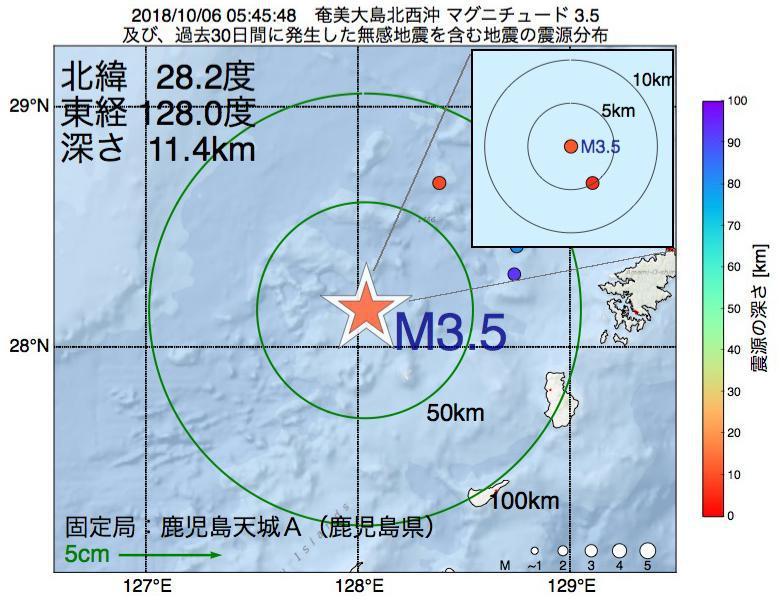 地震震源マップ:2018年10月06日 05時45分 奄美大島北西沖でM3.5の地震