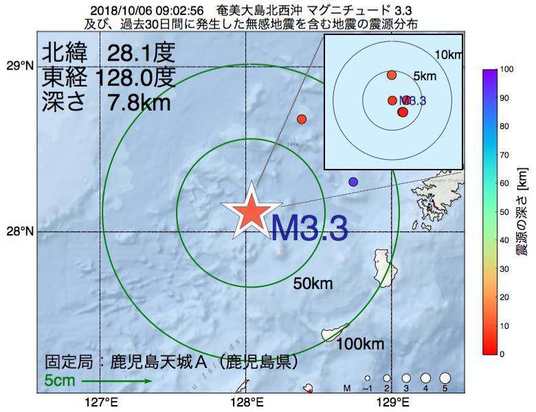 地震震源マップ:2018年10月06日 09時02分 奄美大島北西沖でM3.3の地震
