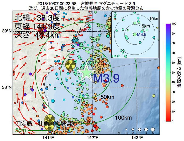 地震震源マップ:2018年10月07日 00時23分 宮城県沖でM3.9の地震