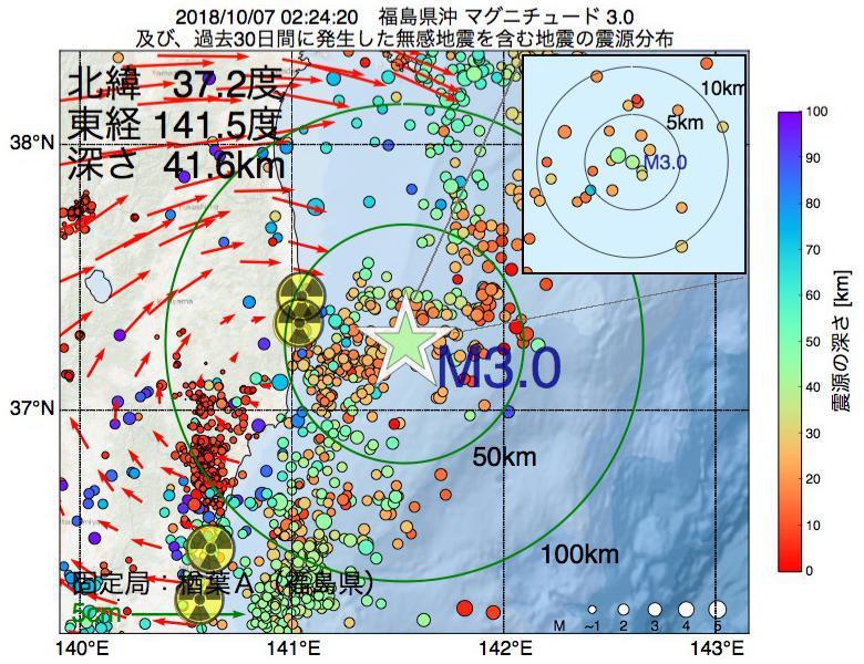 地震震源マップ:2018年10月07日 02時24分 福島県沖でM3.0の地震