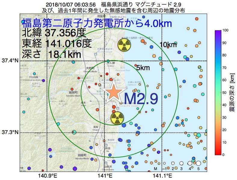 地震震源マップ:福島第二原子力発電所から4.0km地点でM2.9の地震が発生しました