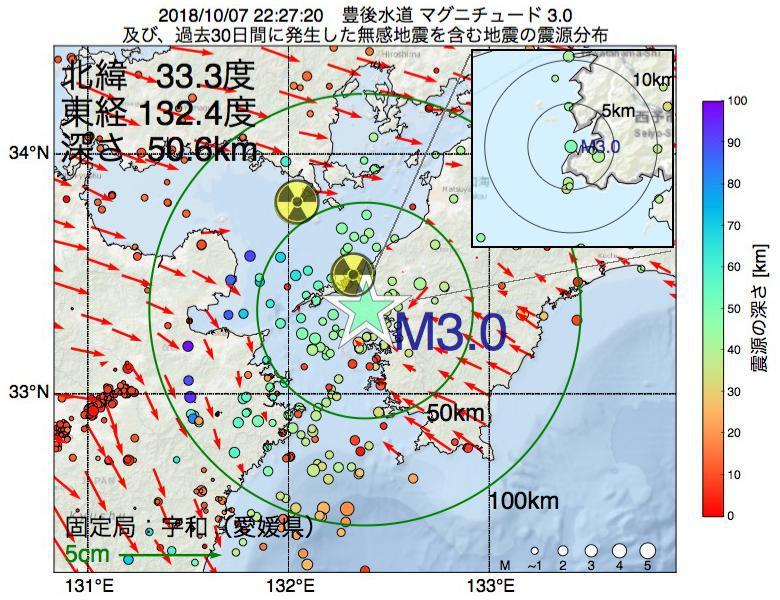 地震震源マップ:2018年10月07日 22時27分 豊後水道でM3.0の地震