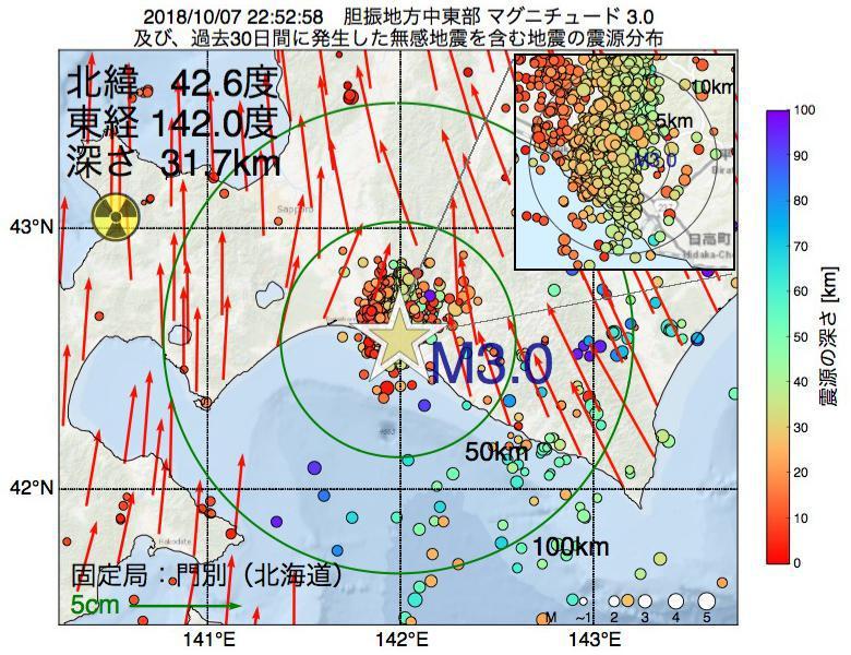 地震震源マップ:2018年10月07日 22時52分 胆振地方中東部でM3.0の地震
