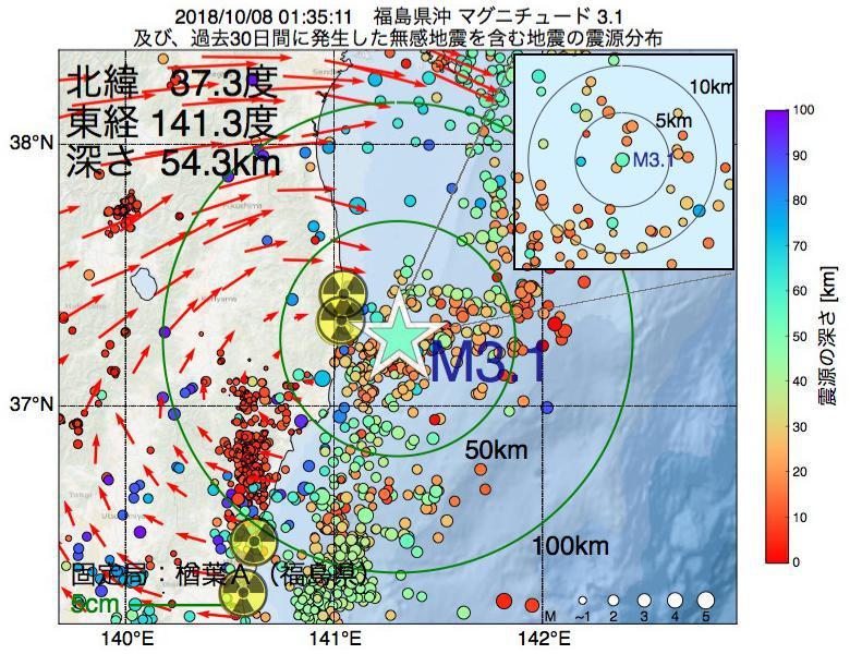 地震震源マップ:2018年10月08日 01時35分 福島県沖でM3.1の地震