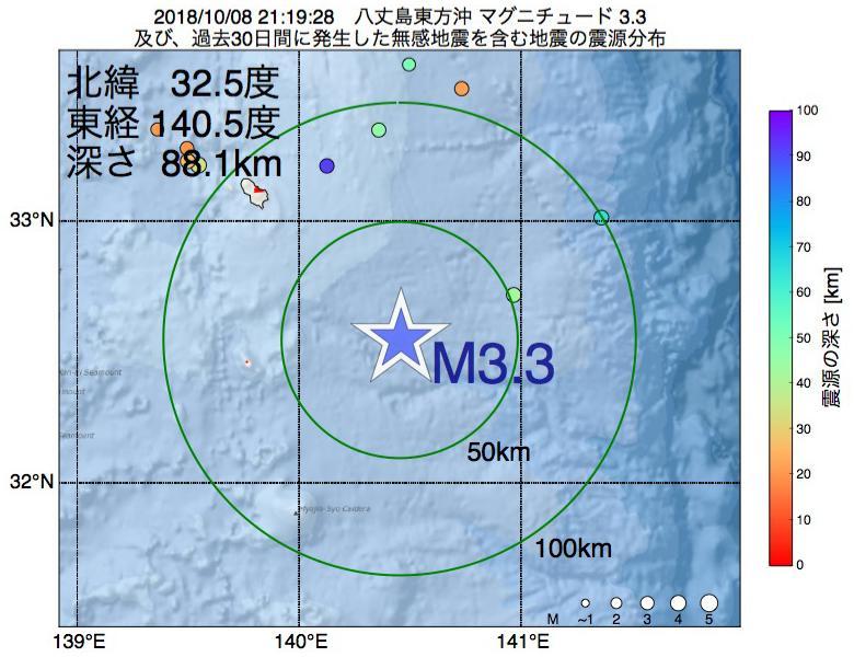 地震震源マップ:2018年10月08日 21時19分 八丈島東方沖でM3.3の地震