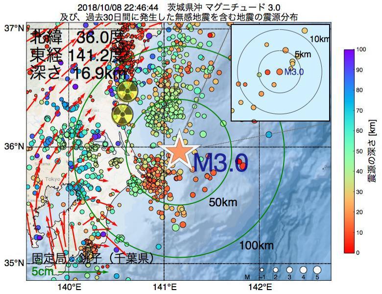 地震震源マップ:2018年10月08日 22時46分 茨城県沖でM3.0の地震