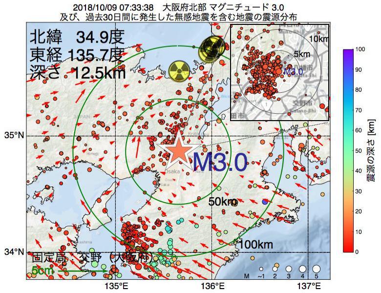 地震震源マップ:2018年10月09日 07時33分 大阪府北部でM3.0の地震