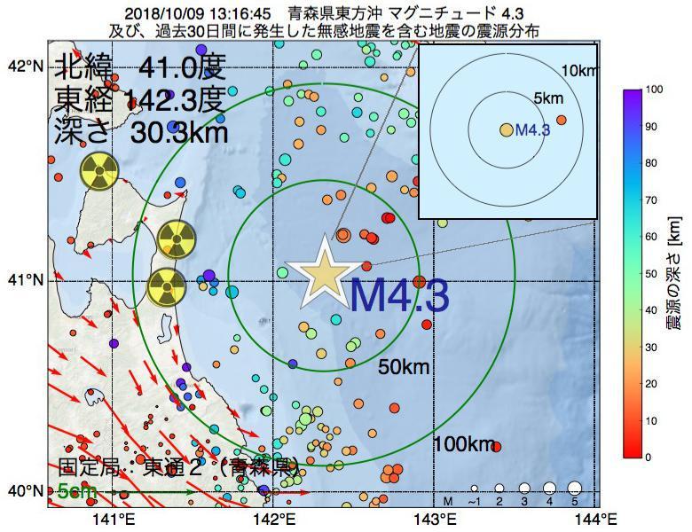 地震震源マップ:2018年10月09日 13時16分 青森県東方沖でM4.3の地震