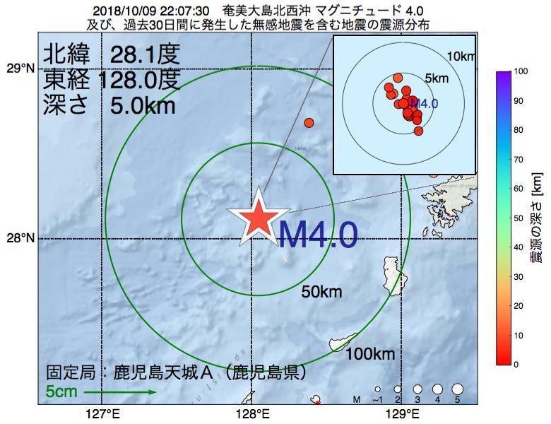 地震震源マップ:2018年10月09日 22時07分 奄美大島北西沖でM4.0の地震