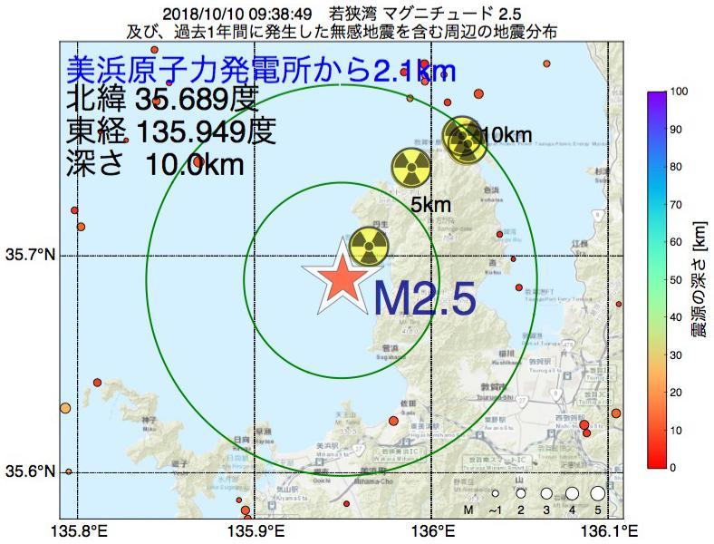地震震源マップ:美浜原子力発電所から2.1km地点でM2.5の地震が発生しました