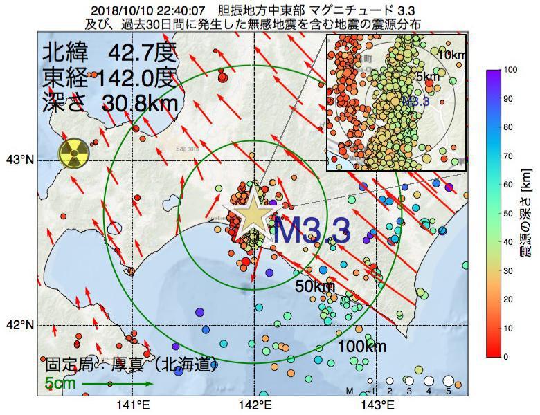 地震震源マップ:2018年10月10日 22時40分 胆振地方中東部でM3.3の地震