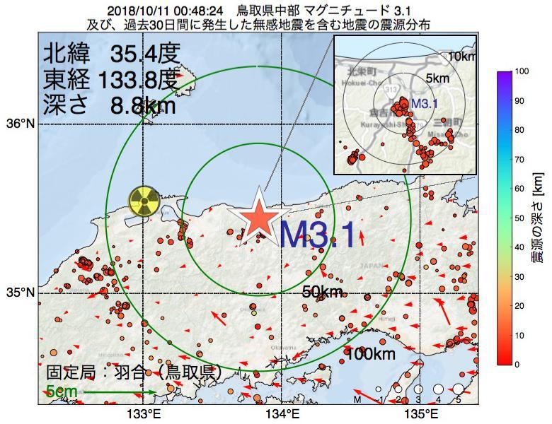 地震震源マップ:2018年10月11日 00時48分 鳥取県中部でM3.1の地震
