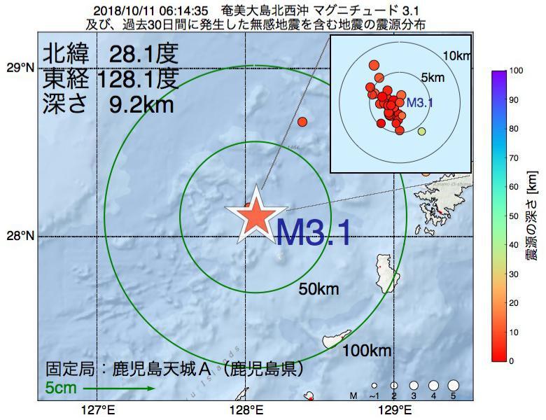地震震源マップ:2018年10月11日 06時14分 奄美大島北西沖でM3.1の地震