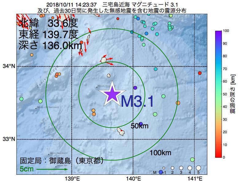 地震震源マップ:2018年10月11日 14時23分 三宅島近海でM3.1の地震