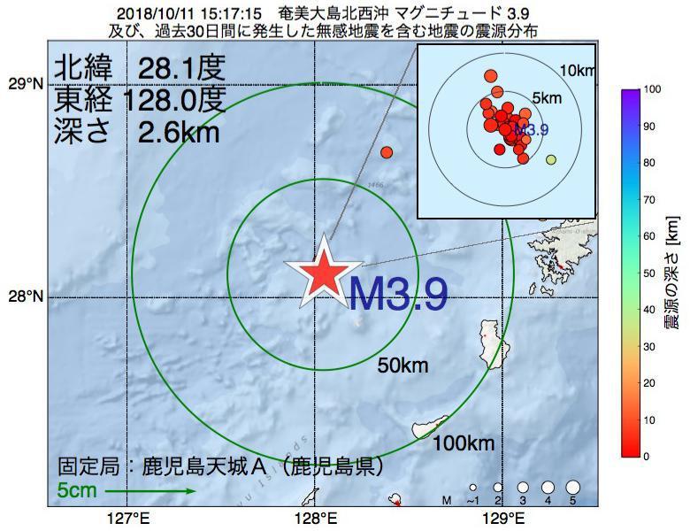 地震震源マップ:2018年10月11日 15時17分 奄美大島北西沖でM3.9の地震