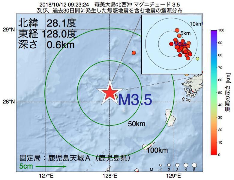 地震震源マップ:2018年10月12日 09時23分 奄美大島北西沖でM3.5の地震