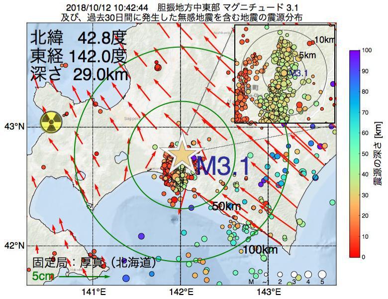 地震震源マップ:2018年10月12日 10時42分 胆振地方中東部でM3.1の地震
