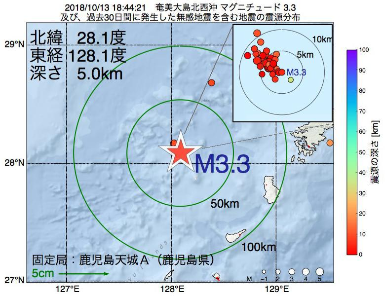 地震震源マップ:2018年10月13日 18時44分 奄美大島北西沖でM3.3の地震