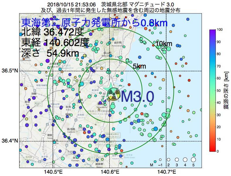 地震震源マップ:東海第二原子力発電所から0.8km地点でM3.0の地震が発生しました