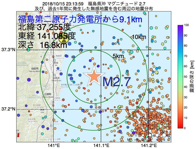 地震震源マップ:福島第二原子力発電所から9.1km地点でM2.7の地震が発生しました