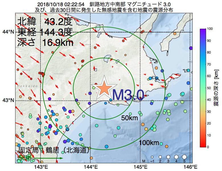 地震震源マップ:2018年10月18日 02時22分 釧路地方中南部でM3.0の地震