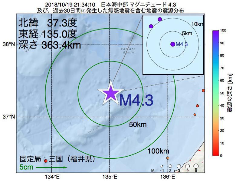 地震震源マップ:2018年10月19日 21時34分 日本海中部でM4.3の地震
