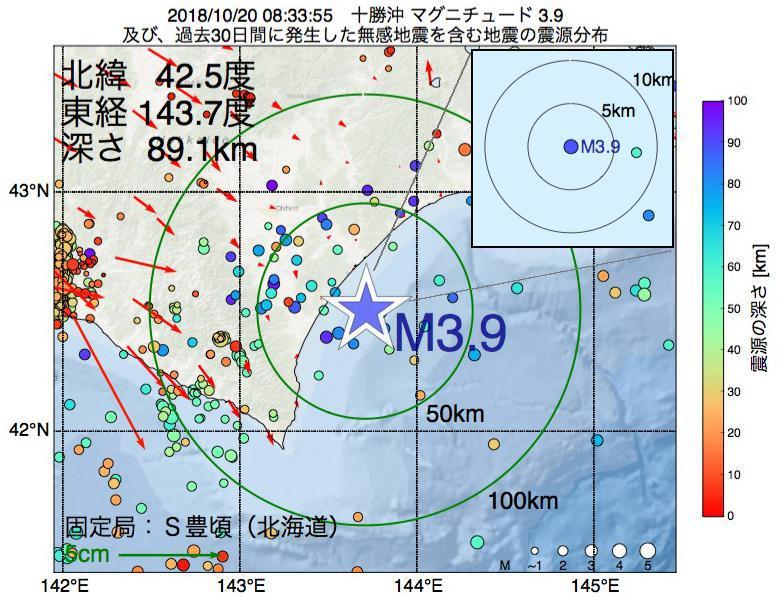 地震震源マップ:2018年10月20日 08時33分 十勝沖でM3.9の地震