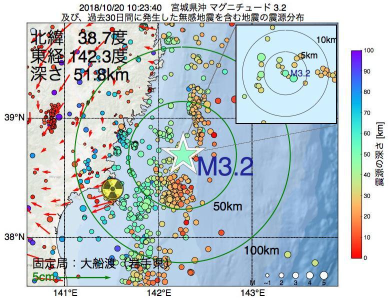 地震震源マップ:2018年10月20日 10時23分 宮城県沖でM3.2の地震