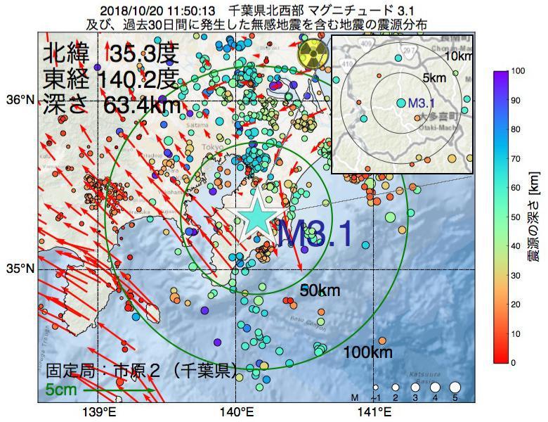 地震震源マップ:2018年10月20日 11時50分 千葉県北西部でM3.1の地震