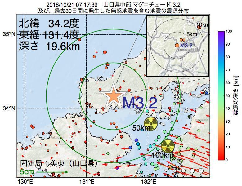 地震震源マップ:2018年10月21日 07時17分 山口県中部でM3.2の地震