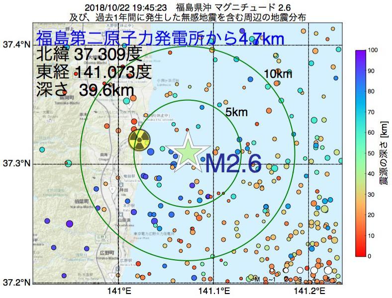 地震震源マップ:福島第二原子力発電所から4.7km地点でM2.6の地震が発生しました