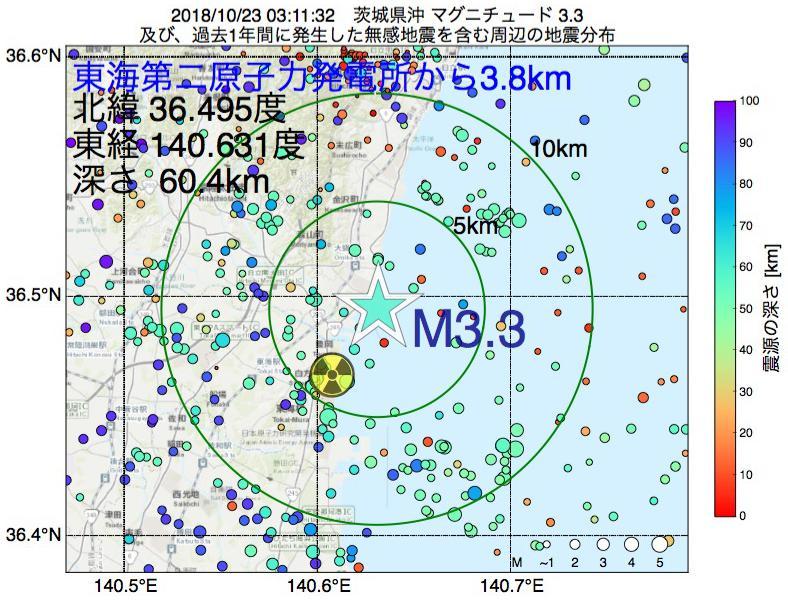 地震震源マップ:東海第二原子力発電所から3.8km地点でM3.3の地震が発生しました