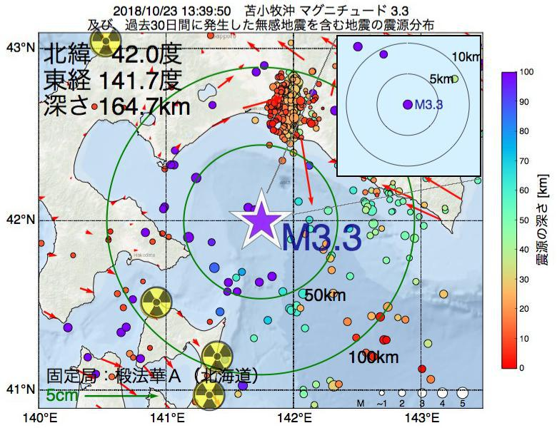地震震源マップ:2018年10月23日 13時39分 苫小牧沖でM3.3の地震