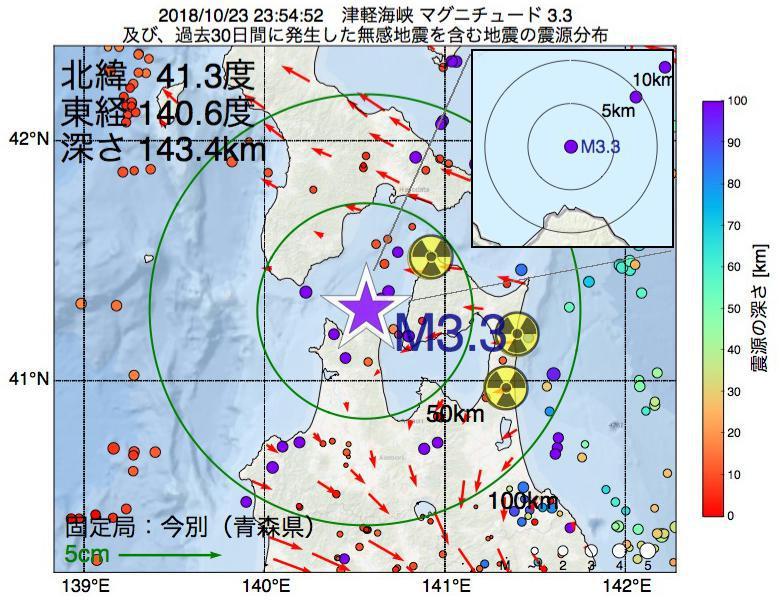 地震震源マップ:2018年10月23日 23時54分 津軽海峡でM3.3の地震