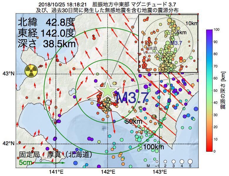 地震震源マップ:2018年10月25日 18時18分 胆振地方中東部でM3.7の地震