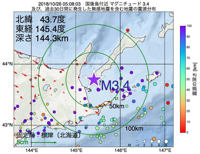 地震震源マップ:2018年10月26日 05時08分 国後島付近でM3.4の地震