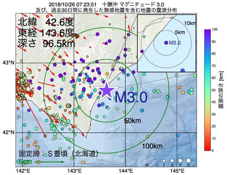地震震源マップ:2018年10月26日 07時23分 十勝沖でM3.0の地震
