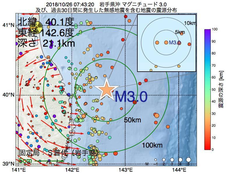 地震震源マップ:2018年10月26日 07時43分 岩手県沖でM3.0の地震