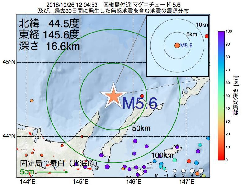 地震震源マップ:2018年10月26日 12時04分 国後島付近でM5.6の地震