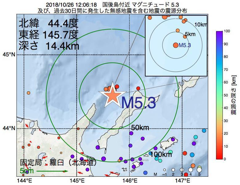 地震震源マップ:2018年10月26日 12時06分 国後島付近でM5.3の地震