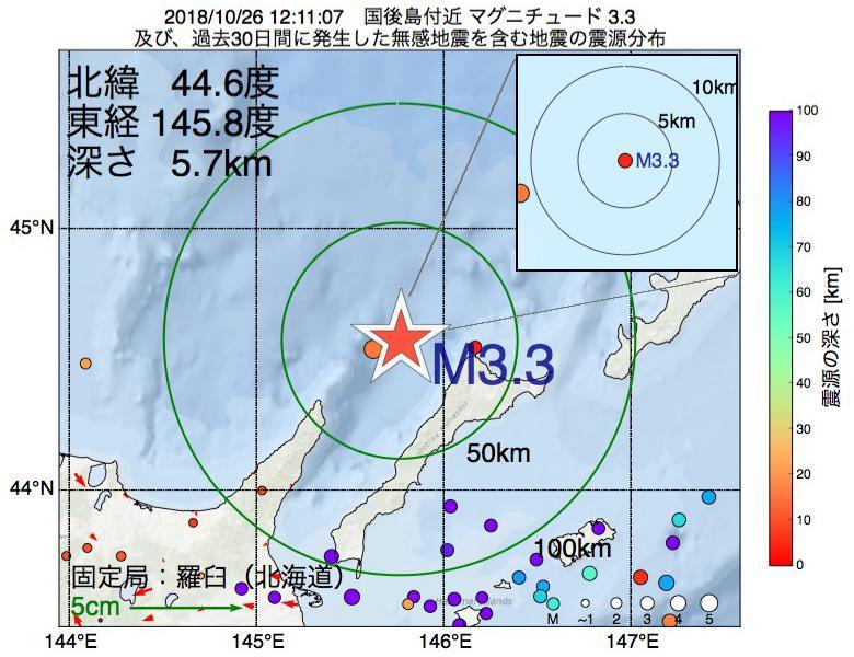 地震震源マップ:2018年10月26日 12時11分 国後島付近でM3.3の地震