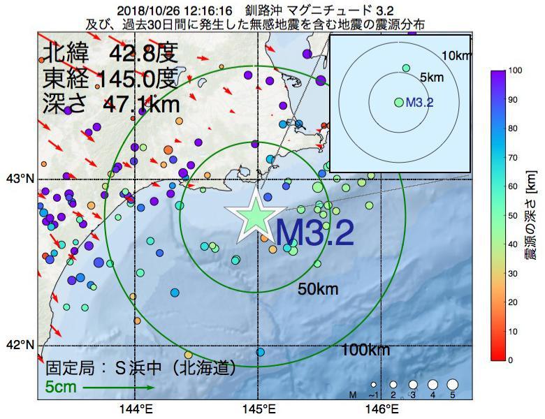 地震震源マップ:2018年10月26日 12時16分 釧路沖でM3.2の地震