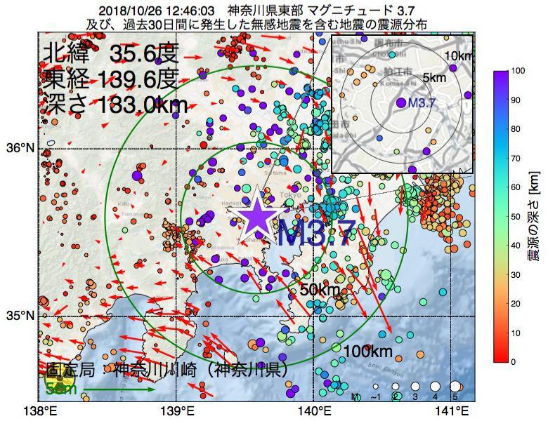 地震震源マップ:2018年10月26日 12時46分 神奈川県東部でM3.7の地震