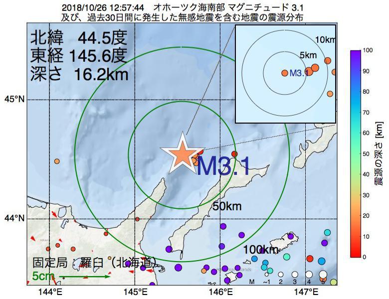 地震震源マップ:2018年10月26日 12時57分 オホーツク海南部でM3.1の地震